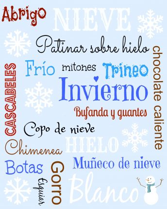 Activities for children to learn Spanish winter words.