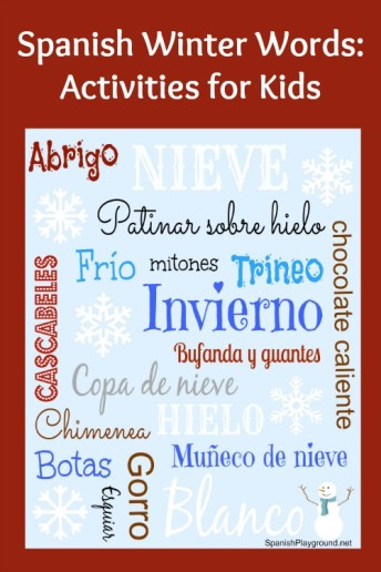 Spanish winter words and activities for language learners.