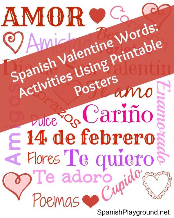 Spanish Valentine Words: Poster and Games - Spanish Playground
