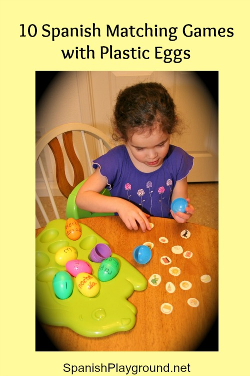Play these Spanish matching games with plastic eggs.