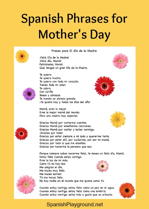 Kids can use the Spanish phrases for Mothers Day in cards and crafts.