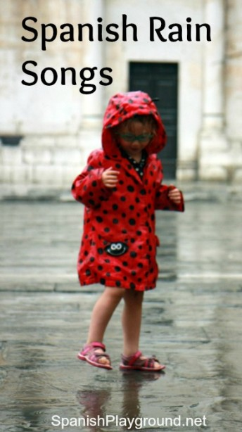 Spanish rain songs to teach children vocabulary and the verb llover.