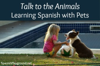 Talking to animals in Spanish is good language practice for kids.