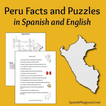 Peru facts for kids in a reading and crossword puzzle.