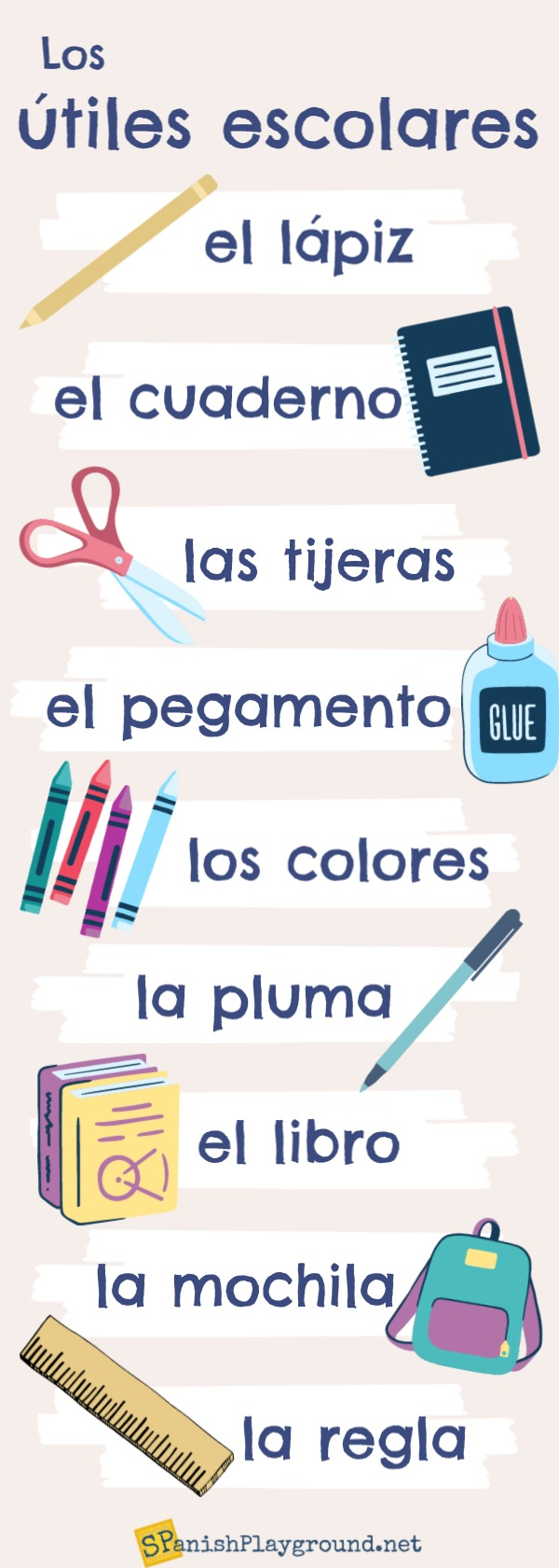 Use the infographic to help students master school supplies in Spanish.