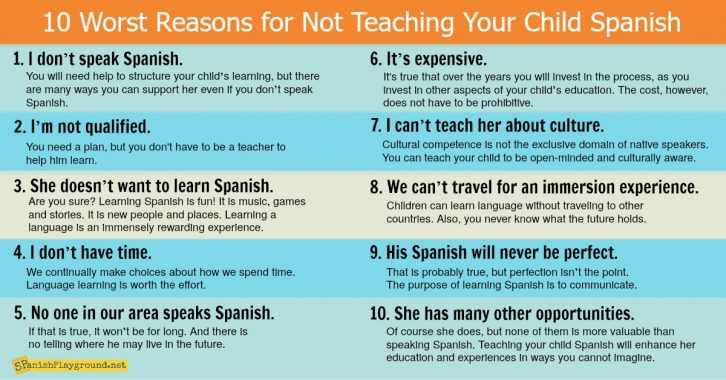 There are many great reasons to teach a child Spanish.