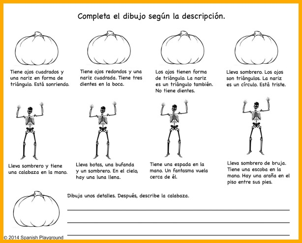 Spanish Halloween resources like this printable drawing and vocabulary activity make learning fun.