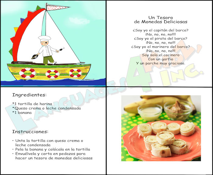 A picture book with recipes in Spanish and poems for kids.