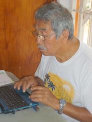 Working at a Juntos computer.