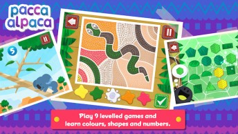Educational games in an app by Pacca Alpaca teach language and basic concepts.