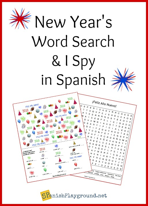 This Spanish New Year word search and I spy game are a fun way to celebrate 2018.