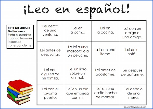 Encourage kids to keep reading over winter break with this Spanish winter reading challenge.