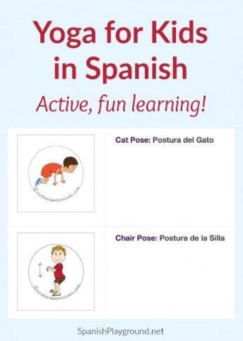 Spanish yoga for kids is fun, active language learning.