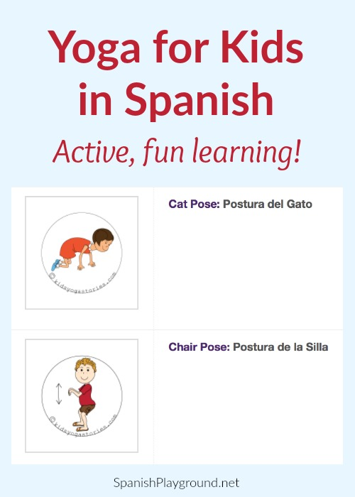 graphic regarding Printable Yoga Poses for Preschoolers identify Spanish Yoga for Young children - Spanish Playground
