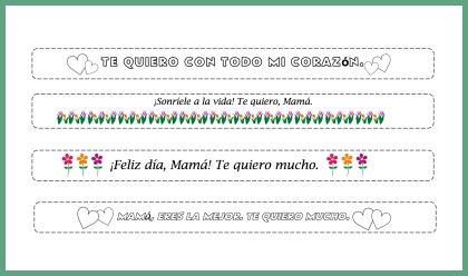 Printable bracelets for celebrating Día de la Madre.