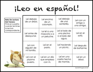 Summer reading program resources include this bingo card reading challenge for Spanish summer reading.