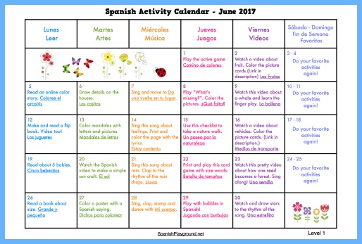 An activity calendar for June with songs, videos, games and activities for Spanish learners.