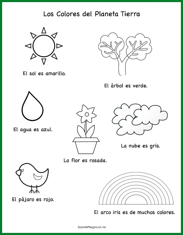 Use this coloring sheet to learn Spanish Earth Day vocabulary.
