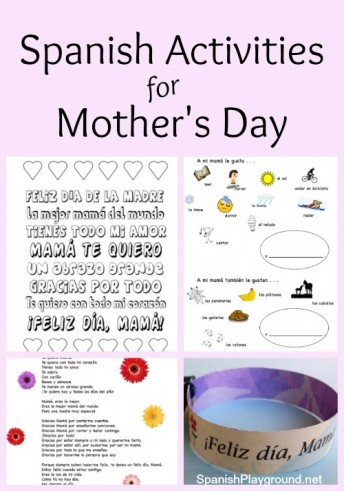 Photo collage of Spanish Mother's Day activities including coloring sheets and printable bracelet.