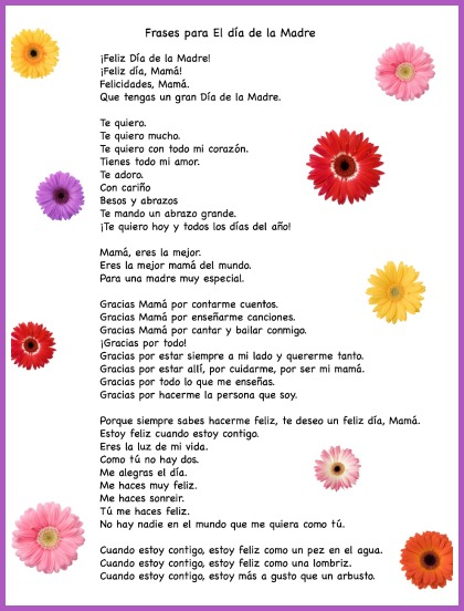 Spanish Mother's Day phrases for kids to use in cards.