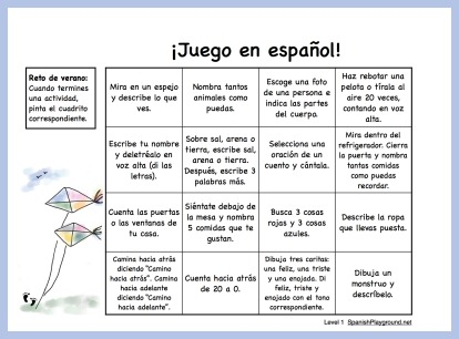 A bingo card style challenge to encourage children to play in Spanish.