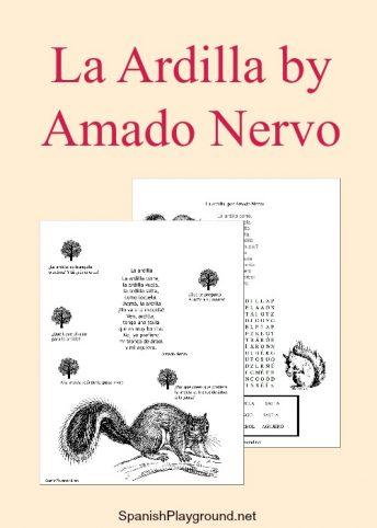 The short poem La ardilla by Amado Nervo has easy vocabulary for kids learning Spanish.