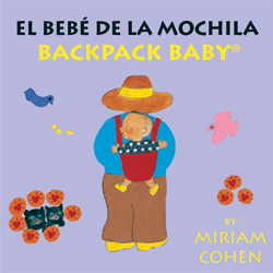Toddlers learn language with bilingual board books.