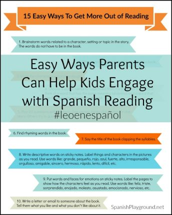 Parents can use these 15 easy activities to help kids reading in Spanish engage with books.