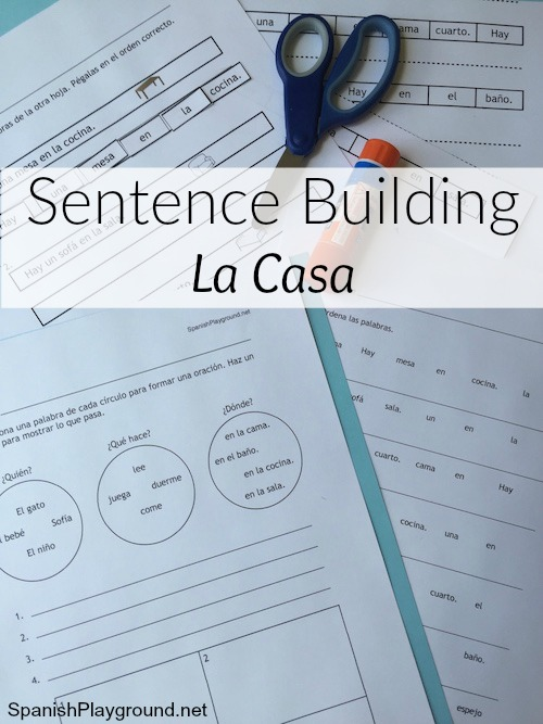 Sentence building in Spanish kids learn vocabulary and grammar with engaging activities.