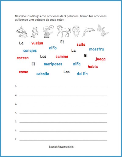 Kids practice reading and structure with Spanish sentence building.