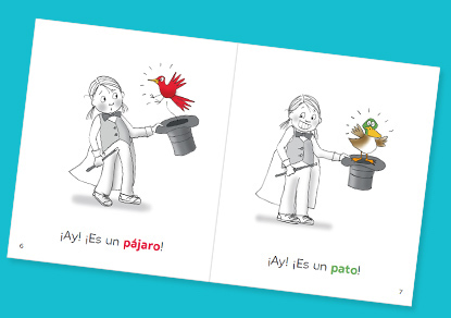 With these books for Spanish learners, kids learn common vocabulary.