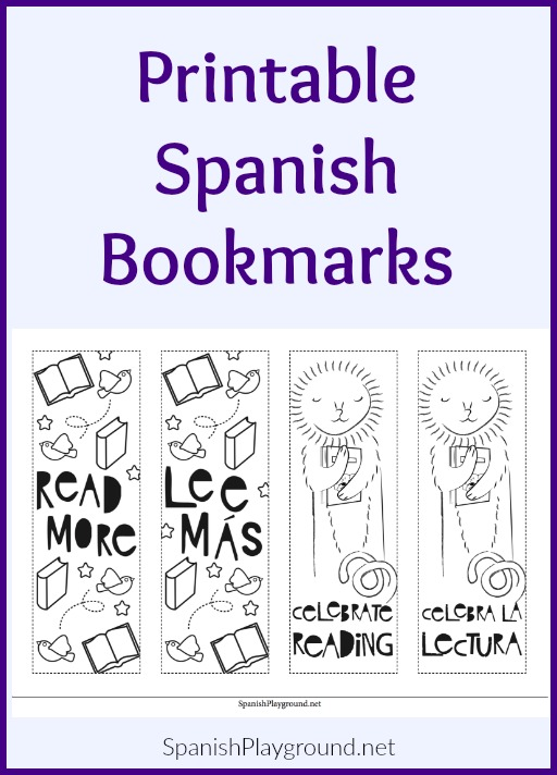 image relating to Spanish Printable named Printable Spanish Bookmarks - Spanish Playground