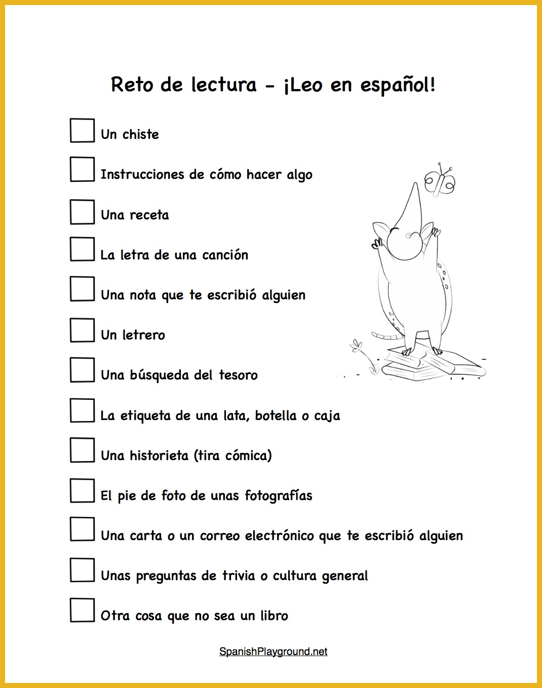 A reading challenge to encourage kids to practice reading in Spanish.