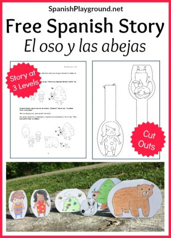 A free Spanish story PDF with cutouts for retelling helps children learn language.
