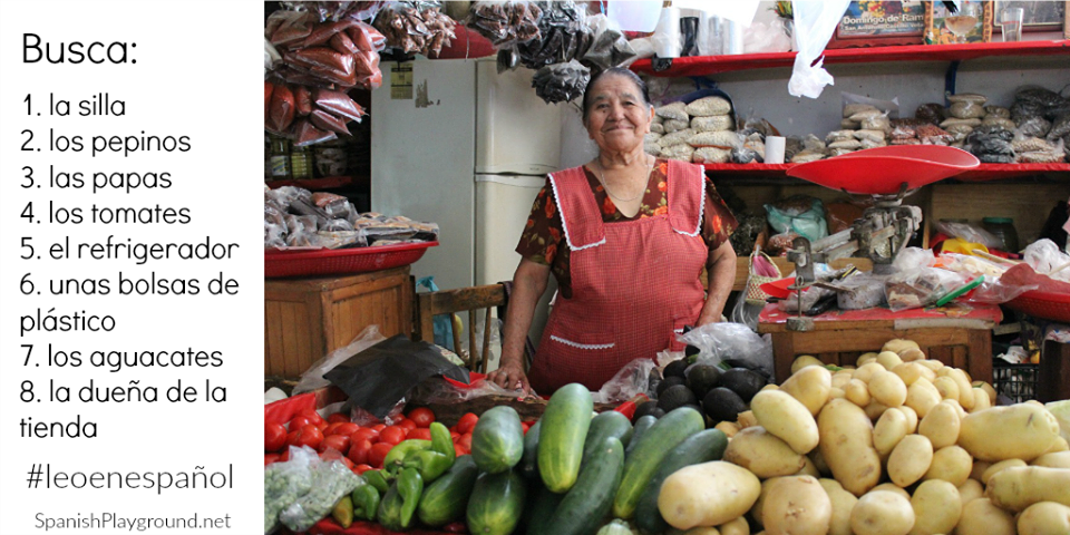 Kids find the listed objects in this photo of a market in Oaxaca, Mexico.