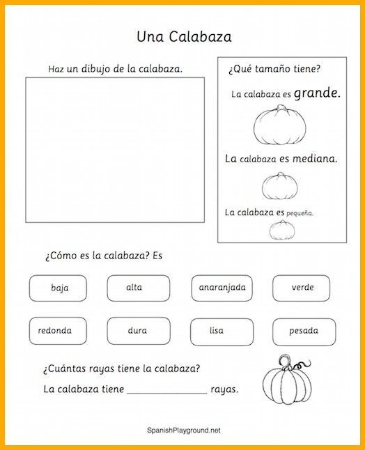 Pumpkin Activities In Spanish Spanish Playground