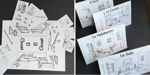 Kids learn Spanish house vocabulary with a printable game based on Go Fish.