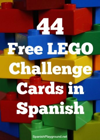 LEGO challenge cards in Spanish are an engaging reading task for kids learning the language.