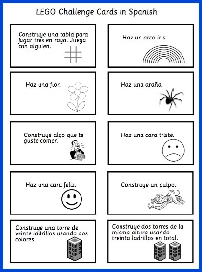 These LEGO challenge cards in Spanish provide hands on practice with vocabulary.