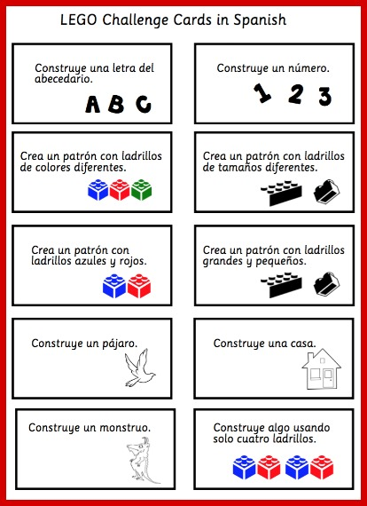 Kids practice reading skills with these printable LEGO challenge cards in Spanish.