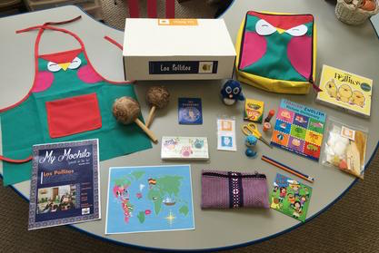 A subscription box of materials for teaching Spanish to children.