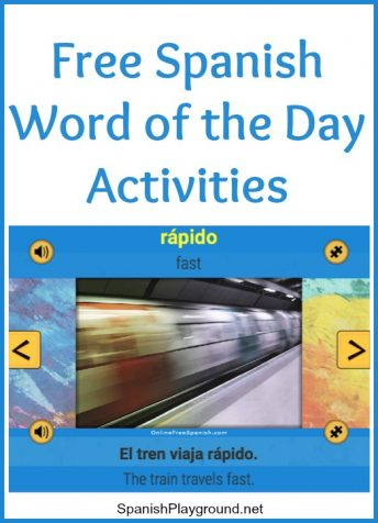 A Spanish word of the day with two ordering activities for kids.