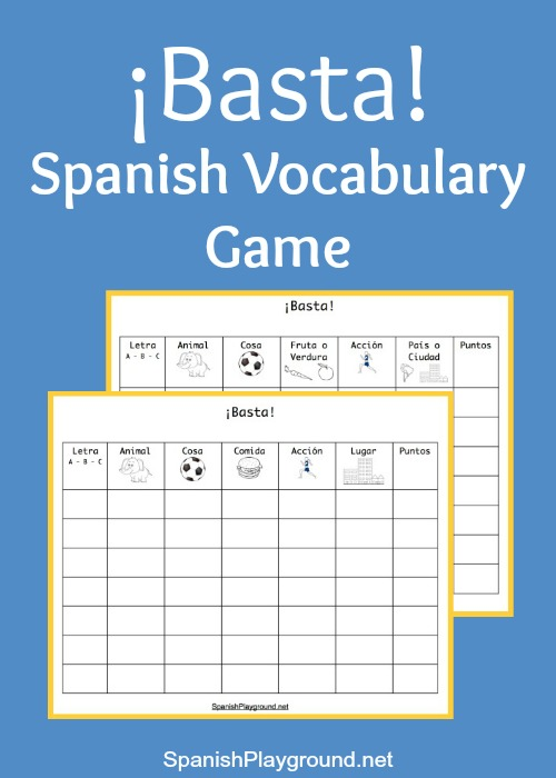 Print these Basta game boards with categories for Spanish learners.