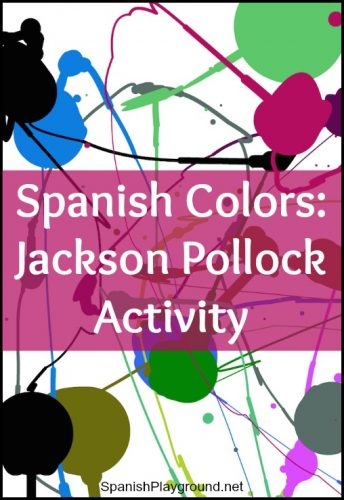 Kids learn Spanish colors with an online activity inspired by the work of Jackson Pollock.