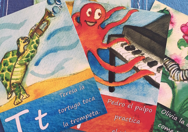 Sonrisas elementary Spanish curriculum includes colorful alphabet posters.