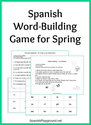 Spanish word-building game to practice spring vocabulary.