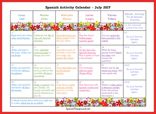 This activity calendar has games, songs, videos and reading activities for summer Spanish.