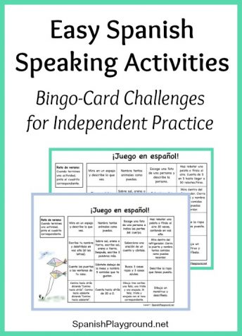 Kids do easy Spanish speaking activities with these printable bingo-card challenges.