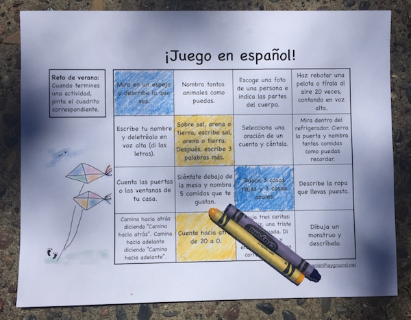A bingo-card challenge with easy Spanish speaking activities for kids.