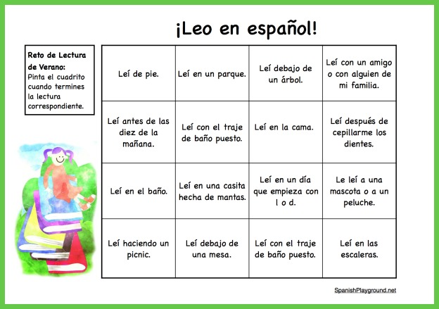 Kids cross off squares in this Spanish reading challenge each time they finish a book.